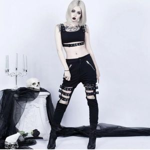 Buckled crop & legging pant set NWOT zipper gothic